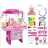 Juego de niños Casa Puzzle Simulación Equipo médico Equipo médico Mesa médica Muñeca Estetoscopio Doctor Juguete (Color : Pink)