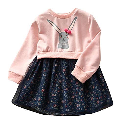 Kinder Baby Mädchen Kleider, Cartoon Kaninchen Niedlichen Kleinkind Bunny Floral Prinzessin Kleid Karneval Ostern Langarm Pullover Mosaik Outfits Kleidung(Rosa,110)