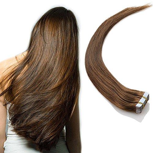 Tape in Haar Extensions Echthaar Remy Haarverlängerung Haarlocke mit Klebeband 20 Tressen Mittelbraun 40cm (Extensions Farbige Haar)