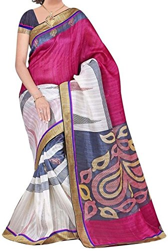 Sunshine Fashion Bhagalpuri Silk Printed Saree For Women (Pink_SUNSA320)( New Arrival Latest Best Design Beautiful Saree Material Collection For Women and Girl Party wear Festival wear Special Function Events Wear In Low Price With Todays Special Offer with Fancy Designer Blouse and Bollywood Collection 2017 )  available at amazon for Rs.315