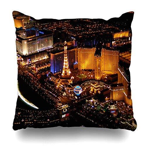 GFGKKGJFD417 Las Vegas Luftblick aus Einem Blimp Kissenbezüge, 45 x 45 cm, Wohnzimmer-Dekoration, Überwurf, Kissenbezug mit Reißverschluss, für Teenager-Mädchen, Sofa, Akzent-Kissen, Geschenk-Idee