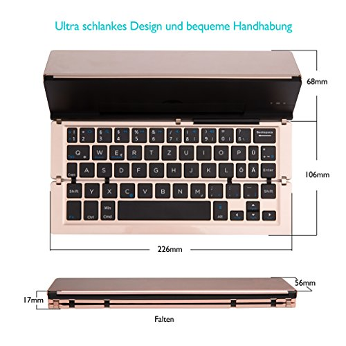 Faltbar Bluetooth Tastatur, iEGrow F18 Universal Tragbar Bluetooth 3.0 Kabellose Tastatur mit Ständerhalter für Apple iPad iPhone 7 Plus IOS, Andriod Windows Smartphone Tabletten Gold [QWERTZ deutsches Tastaturlayout] - 5