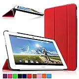 Infiland Acer Iconia Tab 10 A3-A20 Tablet Funda, Ultra Delgada Tri-Fold PU Cuero Smart Cascara para Acer Iconia Tab 10 A3-A20 25,65 cm (10,1 Pulgadas FHD) (A3-A20HD) Tablet-PC (Rojo)
