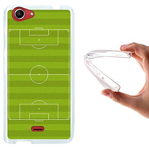 Wiko Pulp FAB Hülle, WoowCase Handyhülle Silikon für [ Wiko Pulp FAB ] Fußballfield Handytasche Handy Cover Case Schutzhülle Flexible TPU - Transparent