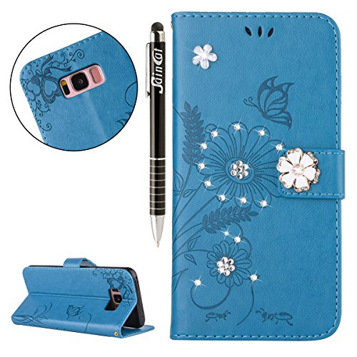 Custodia iPhone 7, iPhone 7 Flip Case Leather, SainCat Custodia in Pelle Flip Cover per iPhone 7, Custodia Bling Glitter Diamante Ultra Sottile Anti-Scratch Book Style Custodia Morbida Cover Protettiv Blu