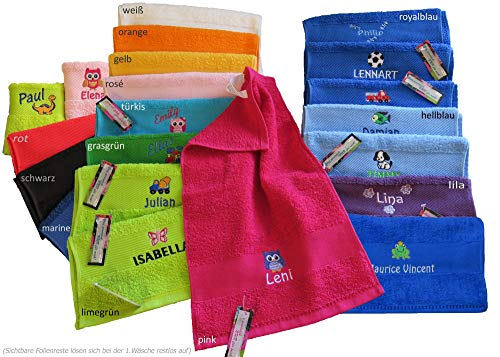 Kinder-Handtuch (Gästetuch) 30x50cm mit Namen & Motiv Bestickt (14 Farben zur Auswahl)