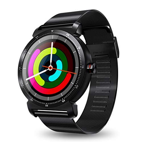 Jiameng smartwatches - k88h plus smart watch ios android cardiofrequenzimetro guarda schermo rotondo ips cinturino in maglia smart watch nero