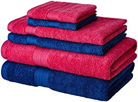 Solimo 100% Cotton 6 Piece Towel Set, 500 GSM (Iris Blue and Paradise Pink)