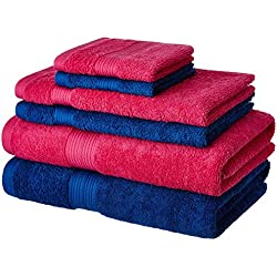 Solimo 100% Cotton 6 Piece Towel Set, 500 GSM (Iris Blue and Paradise Pink)