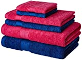 #1: Solimo 100% Cotton 6 Piece Towel Set, 500 GSM (Iris Blue and Paradise Pink)