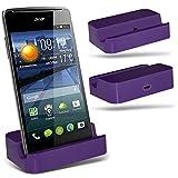( Purple ) Huawei Ascend Y540 Hülle Abdeckung Cover Case schutzhülle Tasche Custom Made Micro-USB-Desktop Charging Dock Mount Stand von ONX3®
