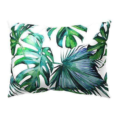 Kissenbezug, rechteckig, tropische grüne Blätter, von quanjucheer, 12#, 30cm x 50cm -