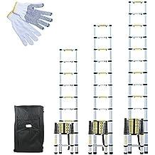 Linxor ® Escalera telescópica Pro 2m60, 3,20m o 3,80m de aluminio + estuche de transporte y guantes de manteniendo – Norma EN131
