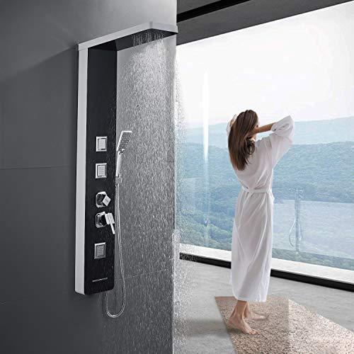 BONADE Duschpaneel Regendusche aus 304 Edelstahl, Duschset Duscharmatur mit Handbrause, 3 Massagendüsen, Duschsystem mit Wanneneinlauf, Aufputz Dusche für Bad Badewanne