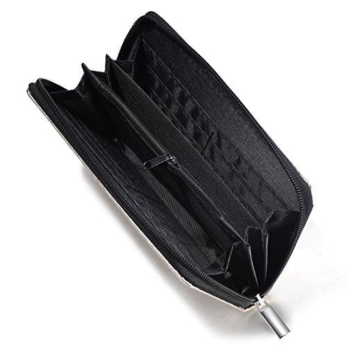 DonDon Portafoglio donna morbido aspetto metallico con chiusura lampo portamonete in grigio 20 x 10 x 2,5 cm Argento