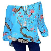 CRYYU Womens Floral Printing Slim Fit Off Shoulder Double-deck Plus Size Chiffon Blouse Shirt Top Blue 3XL