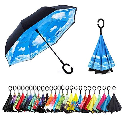 Sumeber Reversion Regenschirm Herren automatik Stockschirm Schirm Damen Schwarz Groß - Winddicht Golfschirm Double Layer Innovativ mit C Griff inverted Reverse Umbrella - Vordach Zubehör