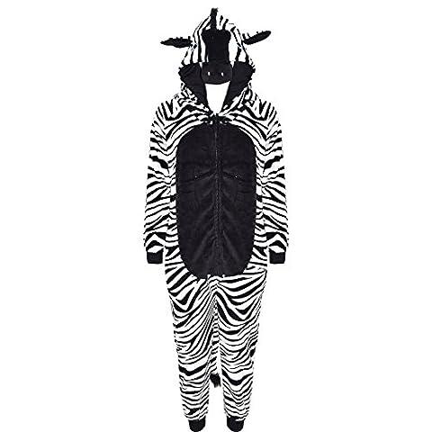 A2Z 4 Kids Kinder Mädchen Jungen Einteiler Extra Weich Flauschig Zebramuster Alles In Eins Halloween Kostüm New 122 128 134 140 11 12 13 14 Jahre - Zebra,