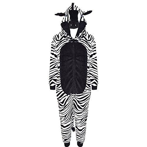 A2Z 4 Kinder Kinder Mädchen Jungen Strampelanzug Extra Weich Flaumiger Zebra Alles in einem - Zebra - 9-10 Jahre (Kinder Zebra Kostüm)