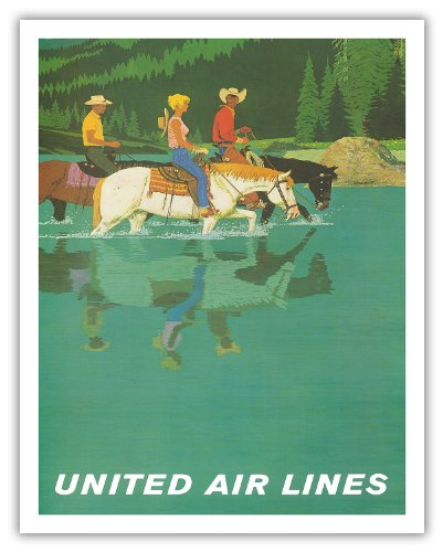 Pacifica Island Art Rocky Mountains - United Air Lines - Reiter - Vintage Airline Travel Poster von Stan Galli c.1960s - Kunstdruck 11