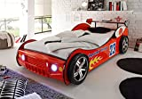 Stella Trading Energy Autobett, Holz, Rot, 225 x 105 x 60 cm