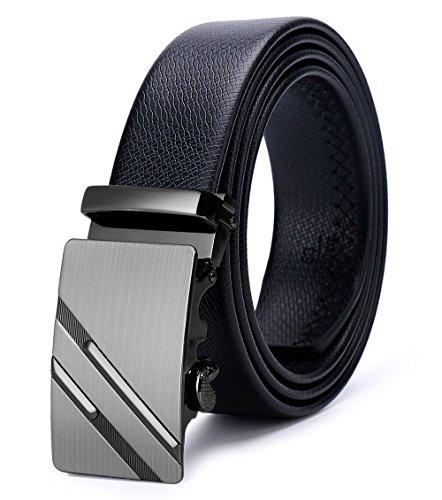 ITIEZY Herren Gürtel Ratsche Automatik Gürtel für Männer 35mm Breit Ledergürtel, Schwarz 122, Länge: Bis zu 49,21 Inches (125cm)