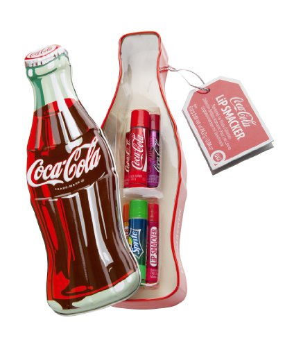 Markwins - Lip Smacker Coca Cola in Vintage-Flaschenform mit 6 Lippenpflegestiften in verschiedenen Geschmacksrichtungen (Vanilla Sprite)
