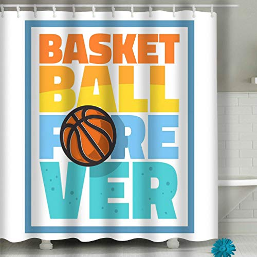 Curtain Basketball Themed Slogan Print Design Graphic Basketball Themed Slogan Print Design Graphic Fabric Bathroom Decor 60 X 72 Inch ()