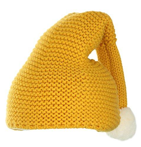 biwinky Unisex Baby Weihnachten Crochet Elf Hat weich gestrickt Santa Hat Gr. M , gelb (Gelb Hut Santa)