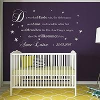 Wandschnörkel ® Wandaufkleber AA081 Wandtattoo Da werden Hände sein die dich tragen.personalisiert Wunsch Namen und Geburtsdatum Mädchen Junge Baby Zimmer Spruch Geburt Taufe Geschenk
