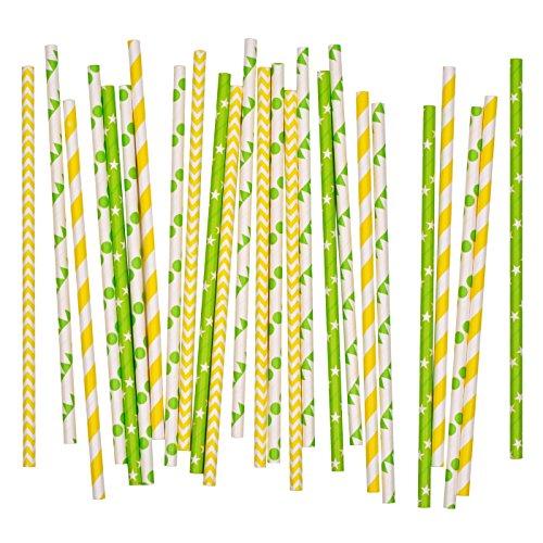lme - Trinkhalme aus Papier in vielen Farben - Party-Strohhalme-Mix Grün-Gelb - 25 Stück ()