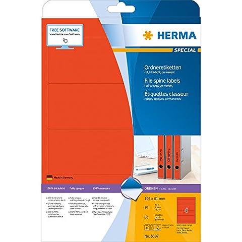 Herma 5097 Ordnerrücken Etiketten breit/kurz, blickdicht (192 x 61 mm auf DIN A4 Papier matt) 80 Stück auf 20 Blatt, rot, selbstklebend
