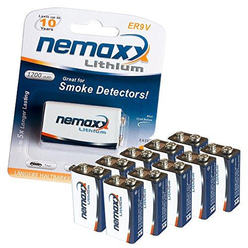 10x Nemaxx Lithium 9V Block Batterie Set für Rauchmelder 10 Jahre Lebensdauer