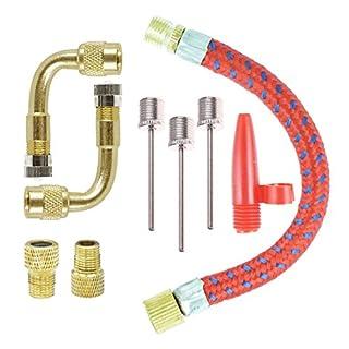 COSORO Inflator Pump Adapter Set Kit 9 Stück, Elbow Extender und Valve Converter Stücke und aufblasbare Nadeln, Adapter Set für Fußball Basketball