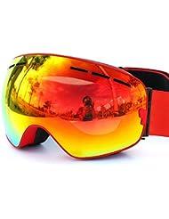 Relefree Ski Lunettes Masque de Protection Double Ecran Snowboard Anti-UV Anti-buée Lunettes Sporting d'Hiver Adult