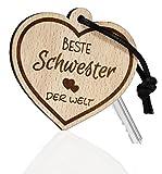 Schlüsselanhänger Herz aus Holz mit Gravur Beste Schwester der Welt