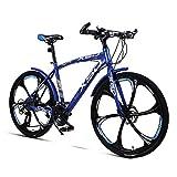Bicicleta de montaña Unisex 26 Pulgadas Rueda Integral 21/24/27/30 Velocidad Acero de Alto Carbono Freno de Disco Doble Estudiante Niño Ciudad del Viajero Cabellera Dura Bicicleta,Blue,30Speed