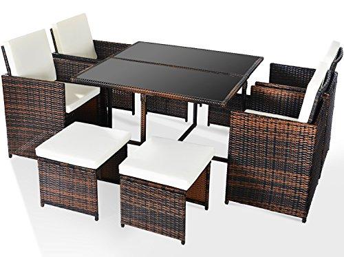 Merax Poly Ratten Gartenmöbel Set Sitzgruppe klappbare Essgruppe mit 8 Sitzplätzen (4+4+1) (Braun)
