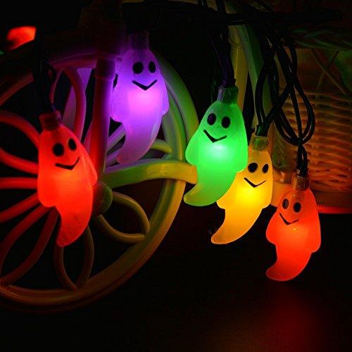 Bunte Halloween-Solar Leuchte String 30Led Ghost Face Wasserdicht Garten Dekoration Gartenlaterne (Verschiedene Optional),6