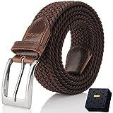 Fairwin Cintura Elastica Intrecciata per Uomo e Donna, Confortevole Cintura in Tessuto Elastico Stretch,per Jeans Pantaloni,Marrone, per la Vita 100-110 cm