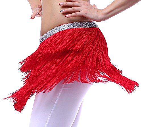 Fairycece Hip Schal für Bauchtanz und Latin Dance mit Fransen und Pailletten für Damen, Rot, ()