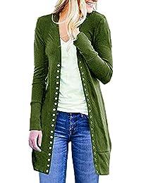 VJGOAL Mujer Otoño E Invierno Moda Casual Color sólido Manga Larga Broche con Botones Abajo Punto Cuello de Punto Cardigans Suéter de Abrigo