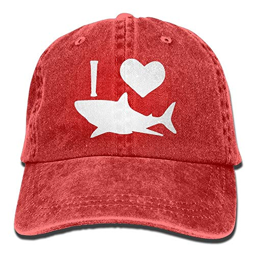 QIOOJ I Love Shark 1 Vintage Jeans Baseball cap for Men And Women