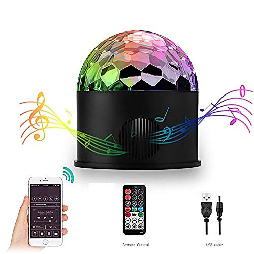 AOMEES Bluetooth Lautsprecher Discokugel Partylicht 9 Farben USB Kristall LED Magic Ball Stroboskope Sound aktiviert Bühnenbeleuchtung DJ Party Lichts mit Fernbedienung für Party House Dance Bar (Bars Bluetooth Sound)