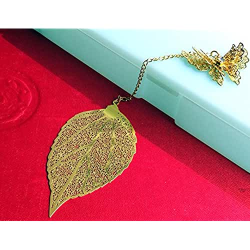 ropa kawaii para los mas guays Golden Metal marcadores arte hojas con mariposa–amupper Kawaii marca de libro Regalo Oficina Accesorios Shool papelería