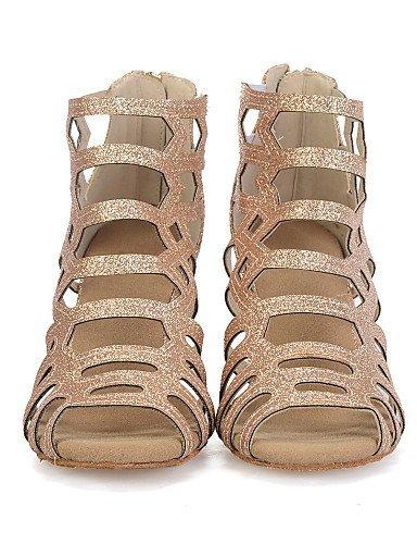 ShangYi Chaussures de danse(Noir / Rouge / Or) -Personnalisables-Talon Bobine-Paillette Brillante / Synthétique-Ventre / Latine / Jazz / Baskets Gold