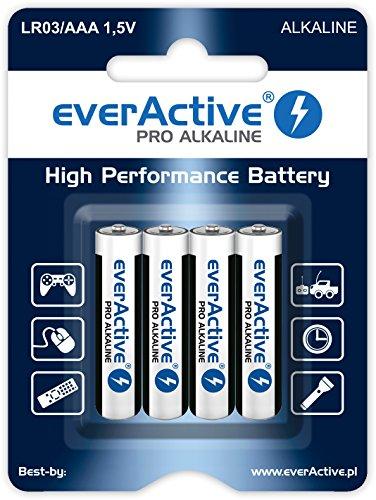 everActive AAA Batterien 4er Pack, Pro Alkaline, Micro LR03 R03 1.5V, höchster Leistung, 10 Jahre Haltbarkeit, 4 Stück - 1 Blisterkarte