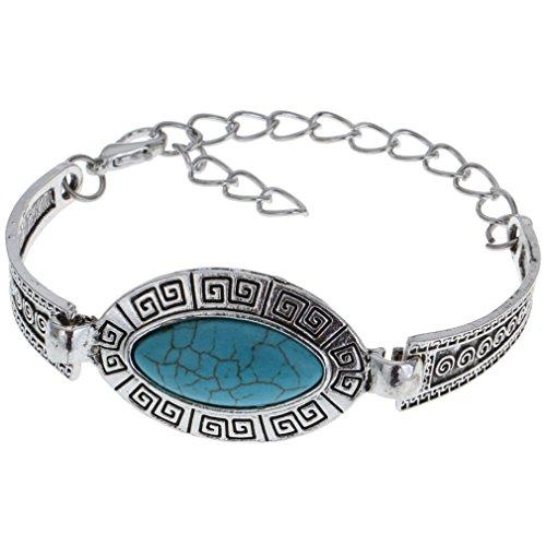 YAZILIND Bracelet chaîne Femmes Vintage look Tibet Antique Plaqué Argent Turquoise Charm Forme des yeux