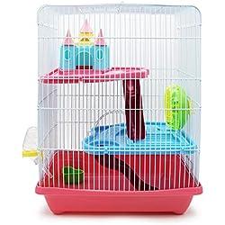 BPS® BPS-1340 Cage Hamster pour Hamster avec échelle Tunnel et Maison spéciale Couleur envoyée au Hasard 28 x 21 x 31 cm