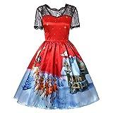 IZHH Weihnachtsdamen Kleider, Art und Weisefrauen Abendkleider Spanien ägypten Patchwork Druck hohe Abendkleider Elegante Kleider Partei Kleid Rotes Kleid Festival Lange Kleider Kleid(V-Rot7,X-Large)